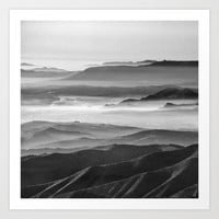 Foggy sunset. Mountains. Square. BW by Guido Montañés