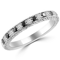 1/3ct Alternating Black & White Diamond Wedding Ring Antique Style
