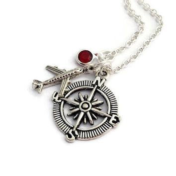 Compass Necklace, Aeroplane Necklace, Custom Birthstone, Travel Sister, Bon Voyage Gift, Goodbye Present, Air Stewartess Accessory