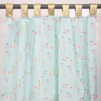 Coral and Aqua Gold Sparkle Curtain Panels