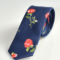 Red Rose Skinny Tie in Blue
