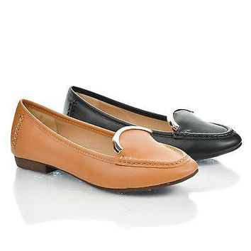 Vedys1 By Kayleen, Almond Toe Metal Plated Collar Slip On Low Heel Loafers