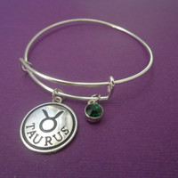 Zodiac Jewerly ~ Taurus Bracelet , Emerald Green birthstone , Birthday gift,Astrology Jewelry , Birthstone Bracelet , Alex and Ani Inspired