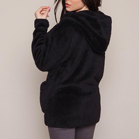 Black Furry Shag Hooded Jacket