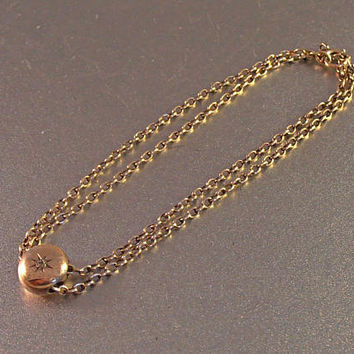 Victorian 10K Diamond Slide Bracelet, Gypsy Set Charm, Rose Gold