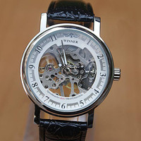 Mens Black Mechanical Steampunk Sport Watch