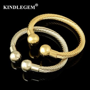 Kindlegem Designer Adjustable Bracelets For Women Luxury Cuff Big Gold Silver Bangles Dubai African Open Jewelry Copper Material
