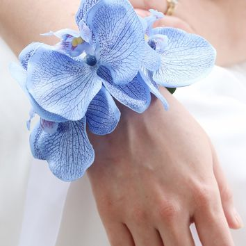 "Blue Silk Orchid Wrist Corsage - 3.75"" Blooms"