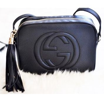 Gucci Shouder Bag Tassel Small Bag Women Leather Shoulder Bag Crossbody Handbag Small Satchel B/A Black