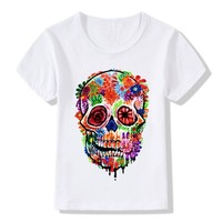 Melting Flower Skull Print T-Shirts Girls Clothes Colorful Tee Shirts