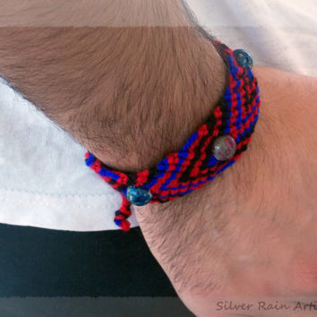 Bracelet - macrame bracelet - friendship bracelet - boho bracelet - groovy bracelet - psychedelic - for men - for women - red - black - blue