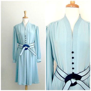 1970s Blue Shirtwaist Dress / 70s dress / Lilli Ann / spring fashion / wedding dress / 40s style dress / med large