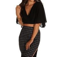 Sale-black Sheer Kimono Crop Top