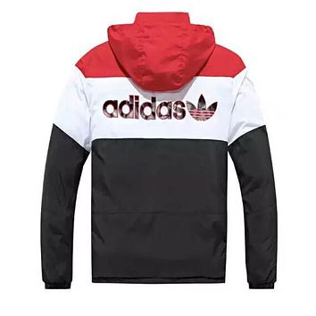 ADIDAS Newest Fashionable Women Men Casual Embroidery Print Long Sleeve Hooded Zipper Cardigan Jacket Coat(Two Side Wear Reversible) Black