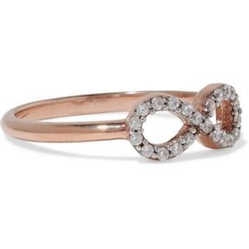 Infinity rose gold-plated sterling silver crystal ring | AAMAYA by PRIYANKA | Sale up to 70% off | THE OUTNET