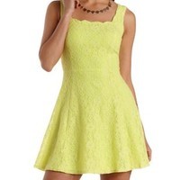 Neon Yellow Floral Lace Scalloped Skater Dress by Charlotte Russe
