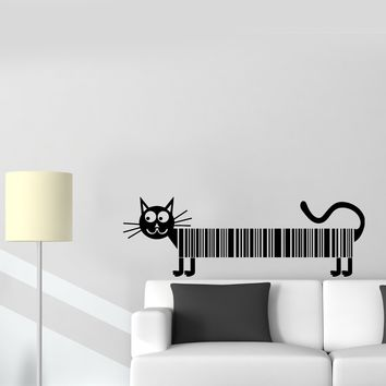 Wall Decal Cat Pet Barcode Funny Animal Picture Vinyl Sticker Unique Gift (ed595)