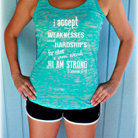 Christian Workout Tank Top. 2 Corinthians 12 10. For When I am Weak Then I am Strong. Bible Verse. Womens Christian Fitness Clothing.
