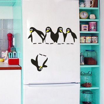 Home Decor Penguin Fun Kitchen Fridge Sticker Dining Decorative Wall Stickers  /lh98-GXX