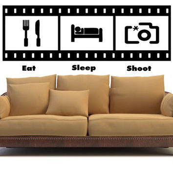 Eat Sleep Shoot Wall Decal Photography Camera Nikon Canon Photo shoot Photographer Pic Stickers Wall Decals Home Decor Wall Stickers tr182