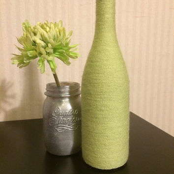 Wine Bottles wrapped with yarn - home décor GREEN