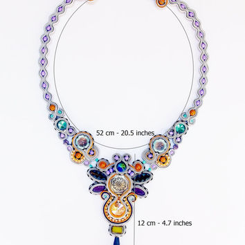Wedding soutache jewelry. Soutache necklace with swarovski crystal.