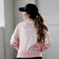Rose Pink Satin Bomber Jacket