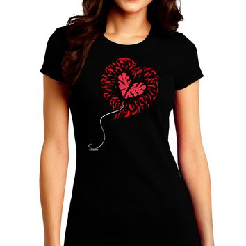 Broken Heart Popped Red Heart Balloon Juniors Crew Dark T-Shirt