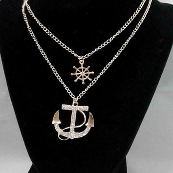 Crystal Anchor/Wheel Pendant Set