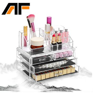 AF Makeup Organizer Storage Box Acrylic Make Up Organizer Cosmetic Organizer Makeup Storage Drawers Organizer Organiser C39