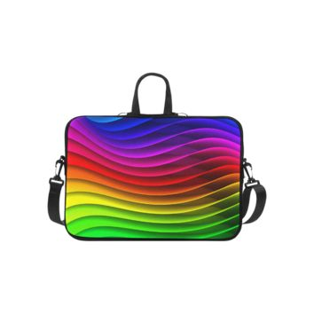 Personalized Laptop Shoulder Bag Glossy Rainbow Stripes Macbook Pro 13 Inch