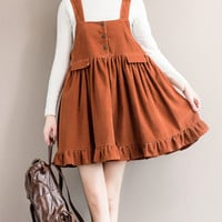 Vintage Women Strap Big Swing Lace Stitcthing Corduroy Mini Dresses