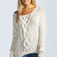 Victoria Multi Colour Fleck Chunky Cable Jumper