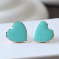Tiffany Blue Enamel Heart Post Earrings.Tiffany blue Turquoise Enamel heart 18K Gold plated Post stud Earrings
