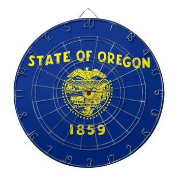 Dartboard with Flag of Oregon, USA