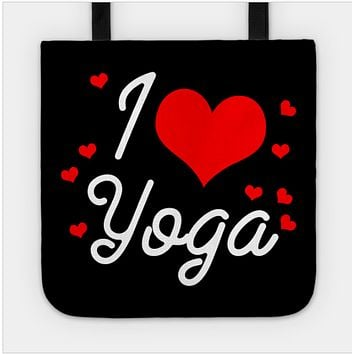I Love Heart Yoga Workout Fitness Pose Stretch Tote Bag