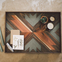 Double Arrow Wooden Breakfast Tray