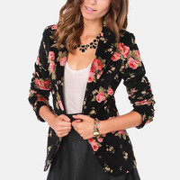Rhapsody in Bloom Floral Black Velvet Blazer