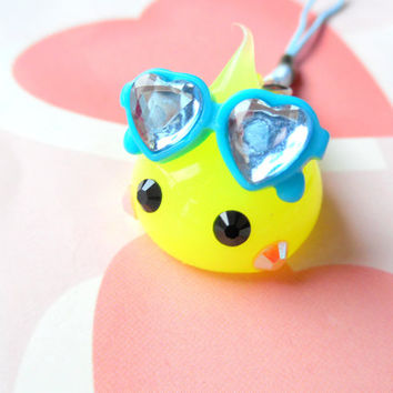 Sunglasses Yellow Hoppe Chan Squishy Charm, Soft Dolls, Cute Phone Charm, Kawaii Dust Plug Charm, Kawaii Keychain, Silicone Charm, Cute Gift