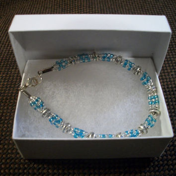 Beautiful silver and blue bracelet by Karmadia on Etsy