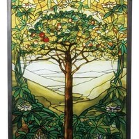 Tiffany Tree of Life Green Yellow Stained Glass 10H