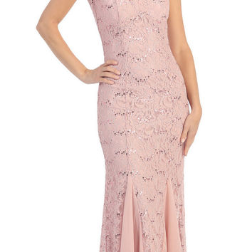 V Neck Sleeveless Floor Length Dusty Pink Mermaid Party Gown