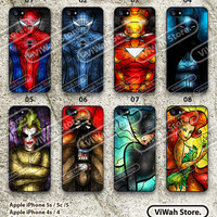 Superheros iPhone 5 Case iPhone 5s iPhone 5c Batman Iron Man Spider-Man Stained Glass iPhone 5 5s 5c Hard Case Rubber Case cover skin case
