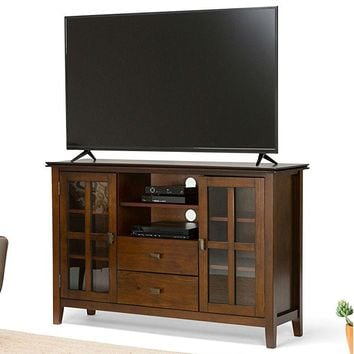 Medium Brown Wood Tall TV Stand for TV's up to 60-inch