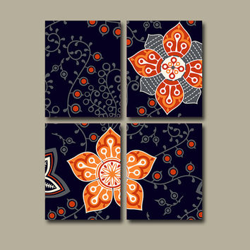 Wall Art Canvas Flourish Bedroom Decor Flower Navy Blue Orange Gray Bathroom Ornament Design Floral Set of 4 Prints Bedding Comforter