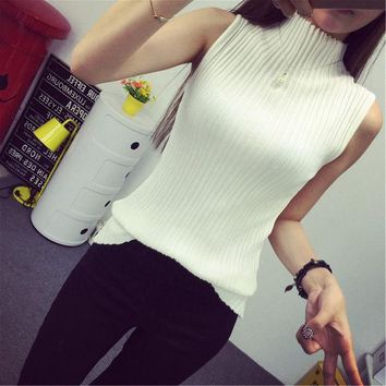 ONETOW 2016 autumn turtleneck tanks women sleeveless top crop female stand collar elastic force vest female pull femme sexy top