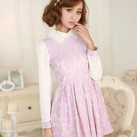 Kawaii Lolita Lace Flower Pleated High Waist Doll Collar Dress - S M L from Tobi's Finds