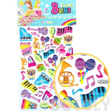 Colorful Piano Keys Musical Instruments Shaped Music Themed Jelly Stickers for Scrapbooking