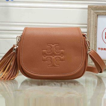 Tory Burch Popular Women Leather Pure Color Tassel Crossbody Satchel Shoulder Bag Brown