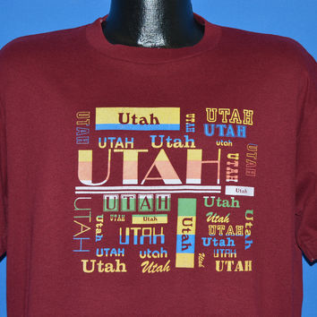 80s Utah State Rainbow Word Cloud t-shirt Extra Large